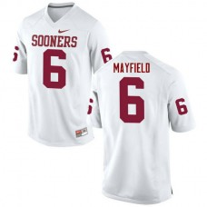 Mens Baker Mayfield Oklahoma Sooners #6 Authentic White College Football Jersey