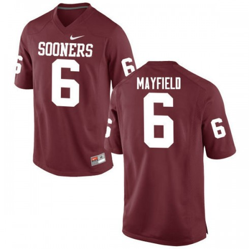 Mens Baker Mayfield Oklahoma Sooners #6 Game Red College Football Jersey