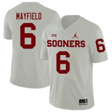 Mens Baker Mayfield Oklahoma Sooners #6 Jordan Brand Authentic White College Football Jersey