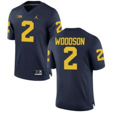 Mens Charles Woodson Michigan Wolverines #2 Authentic Navy College Football Jersey