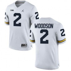 Michigan Wolverines Charles Woodson Mens Authentic White #2 Stitched Jordan College Football Jersey
