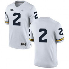 Womens Charles Woodson Michigan Wolverines #2 Game White College Football Jersey No Name