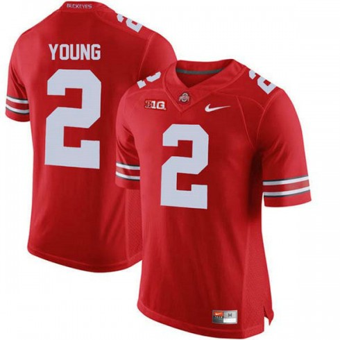 Mens Chase Young Ohio State Buckeyes #2 Authentic Red College Football Jersey