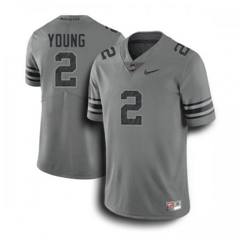 Mens Chase Young Ohio State Buckeyes #2 Game Dark Grey College Football Jersey