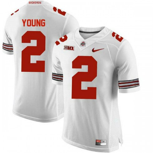 Mens Chase Young Ohio State Buckeyes #2 Game White College Football Jersey