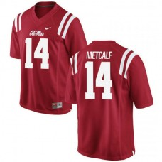 Mens Dk Metcalf Ole Miss Rebels #14 Authentic Red College Football Jersey