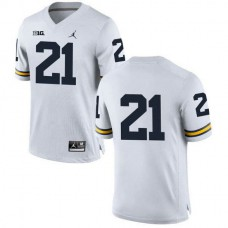 Mens Desmond Howard Michigan Wolverines #21 Game White College Football Jersey No Name