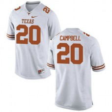 Youth Earl Campbell Texas Longhorns #20 Game White Colleage Football Jersey