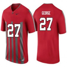 Mens Eddie George Ohio State Buckeyes #27 Throwback Authentic Red College Football Jersey
