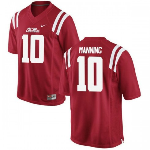 Womens Eli Manning Ole Miss Rebels #10 Authentic Red College Football Jersey