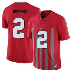 Mens Jk Dobbins Ohio State Buckeyes #2 Throwback Authentic Red College Football Jersey