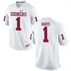 Mens Jalen Hurts Oklahoma Sooners #1 Game White College Football Jersey