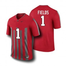 Mens Justin Fields Ohio State Buckeyes #1 Throwback Limited Red College Football Jersey
