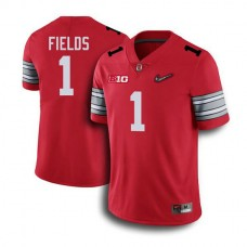 Youth Justin Fields Ohio State Buckeyes #1 Champions Authentic Red College Football Jersey