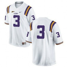 Mens Odell Beckham Jr Lsu Tigers #3 Game White College Football Jersey No Name