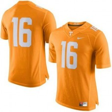 Mens Peyton Manning Tennessee Volunteers #16 Authentic Orange Colleage Football Jersey No Name