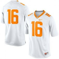 Womens Peyton Manning Tennessee Volunteers #16 Authentic White Colleage Football Jersey No Name
