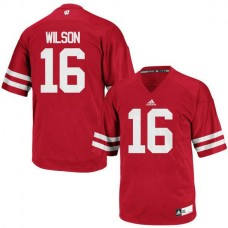 Mens Russell Wilson Wisconsin Badgers #16 Authentic Red Colleage Football Jersey