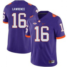 Mens Trevor Lawrence Clemson Tigers #16 Game Purple Colleage Football Jersey